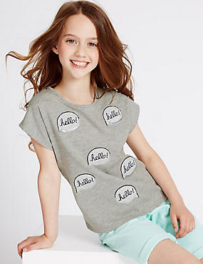 Cotton Rich Hello Speech Bubble Top (3-14 Years)