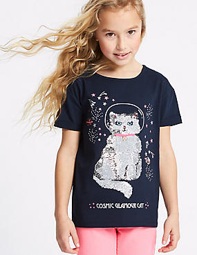 Pure Cotton Cat Sequin Top (3-16 Years)