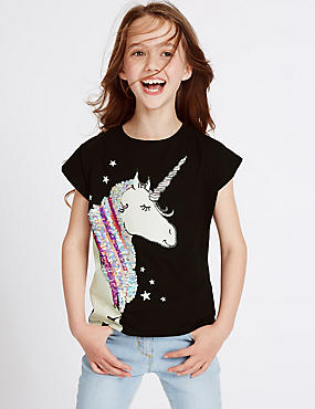 Pure Cotton Unicorn Sequin Top (3-14 Years)