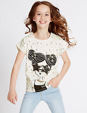 Pure Cotton Sequin Top (3-14 Years)