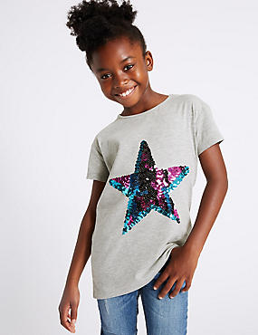 Cotton Rich Star Sequins Top (3-14 Years)