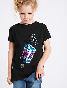 Pure Cotton Sequin Party Popper Top (3-14 Years)