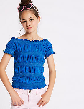 Short Sleeve Shirred Top (3-16 Years)