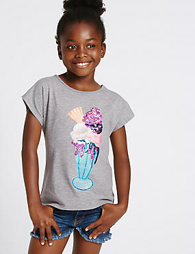 Cotton Rich Crew Neck Top (3-14 Years)