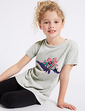 Cotton Rich Sequin Dinosaur Top (3-14 Years)