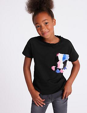 Pure Cotton Faux Fur Pocket T-Shirts (3-16 Years), BLACK MIX, catlanding