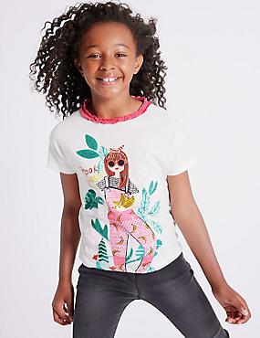 Pure Cotton Girl T-Shirts (3-16 Years), WHITE MIX, catlanding