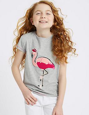 Cotton Rich Flamingo T-Shirt (3-16 years), GREY MARL, catlanding