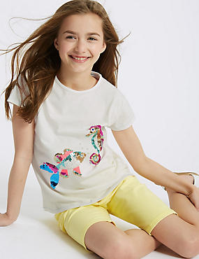 Pure Cotton Fish Sequin Top (3-16 Years)