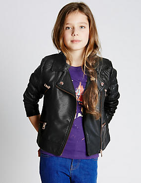 Faux Leather Biker Jacket with Stormwear™ (5-14 Years)