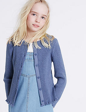 Pure Cotton Ribbed Cardigan (3-14 Years)