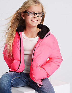 Cropped Padded Coat (3-16 Years), BRIGHT PINK, catlanding