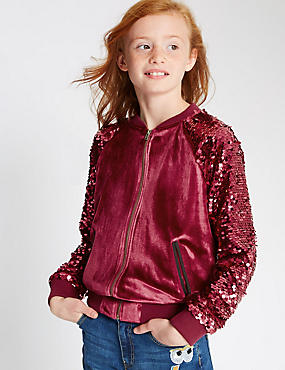 Long sleeve Velvet Bomber Jacket (5-14 Years)