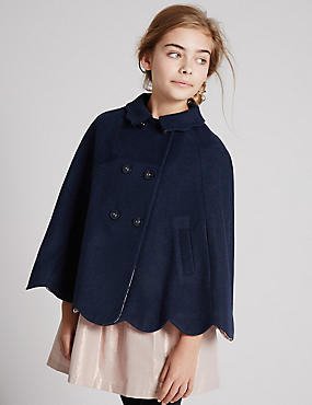 Scalloped Cape Coat with Wool (5-14 Years)