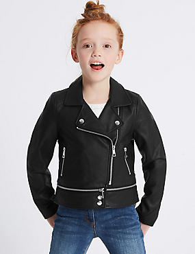 Biker Jacket with Stormwear™ (3-16 Years), BLACK, catlanding