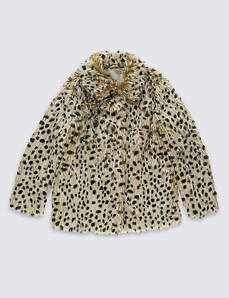 Animal Print Faux Fur Coat (5-14 Years)
