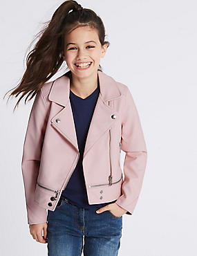 Faux Leather Biker Jacket (3-16 Years)