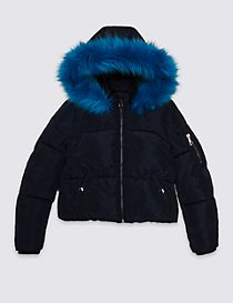 Hooded Faux Fur Coat (3-14 Years)