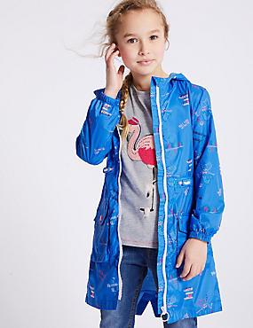 Mermaid Print Raincoat with Stormwear™ (3-16 Years), BLUE MIX, catlanding