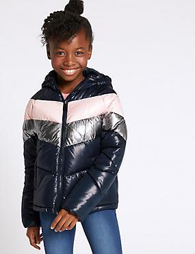 Colour Block Padded Jacket (3-16 Years), NAVY MIX, catlanding