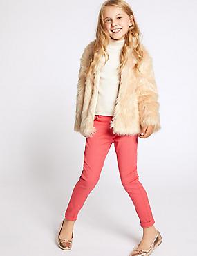 Faux Fur Coat (3-16 Years), NEUTRAL, catlanding