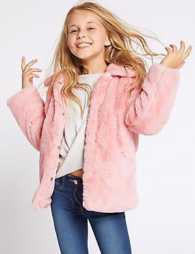Faux Fur Coat (3-16 Years), PINK, catlanding