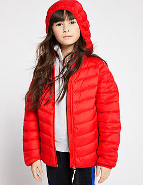 Lightweight Padded Coat (3-16 Years), RED, catlanding
