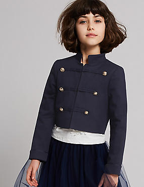 Cotton Military Jacket with Stretch (3-16 Years), NAVY, catlanding