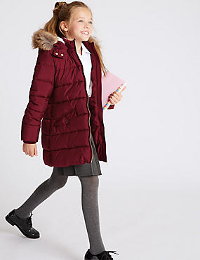 Long Padded Coat with Stormwear (3-16 Years), PLUM, catlanding