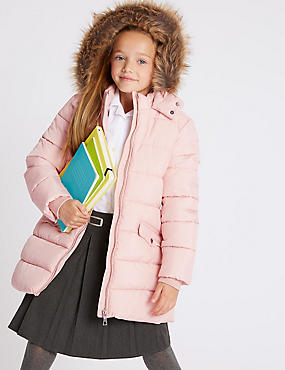 Long Padded Coat with Stormwear (3-16 Years), PINK, catlanding