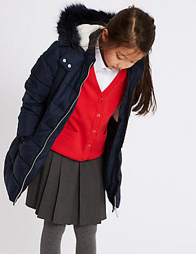 Long Padded Coat with Stormwear (3-16 Years), NAVY, catlanding