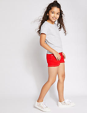 Denim Shorts with Stretch (3-16 Years), RED, catlanding