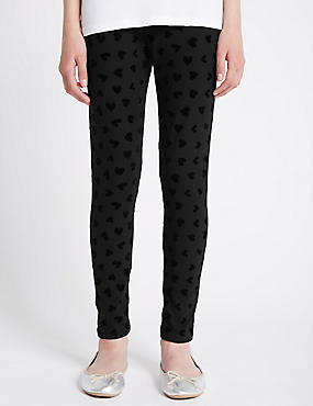 Cotton Rich Heart Flocked Leggings (5-14 Years)