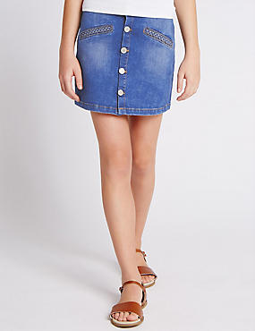 Button Through Mini Denim Skirt (5-14 Years)