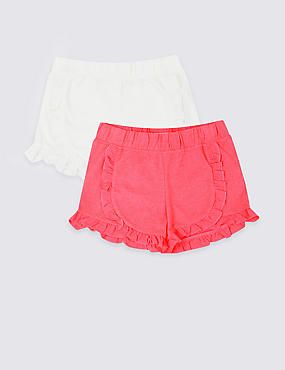 2 Pack Cotton Blend Frill Shorts (3-16 Years), MULTI, catlanding