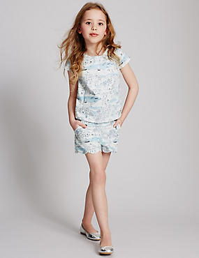 Cotton Rich Printed Shorts (3-14 Years)