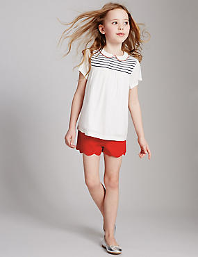 Cotton Rich Scallop Shorts (3-14 Years)