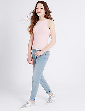 Cotton Adjustable Waist Jeans with Stretch (3-14 Years)