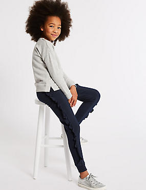 Cotton Rich Frill Joggers (3-16 Years), BLACKBERRY, catlanding