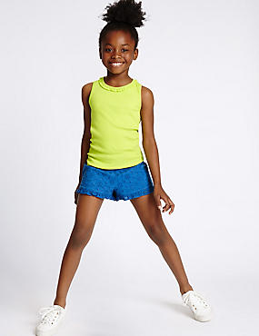 Pure Cotton Frill Shorts (3-14 Years)