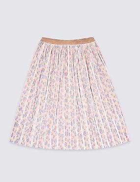 Midi Leopard Velvet Skirt (3-16 Years), PINK, catlanding