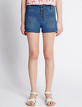 High Waist Denim Shorts (5-14 Years)