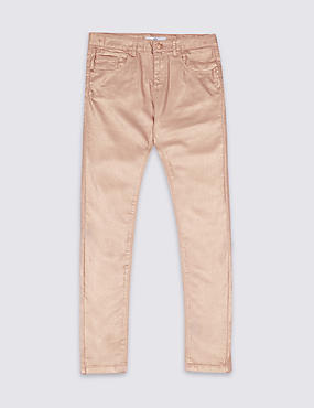 Cotton Blend Pink ShimmerJeans (3-14 Years)