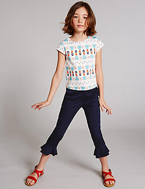 Cotton Rich Peplum Hem Trousers (3-14 Years)