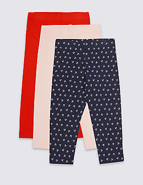 Cotton Rich Leggings with Stretch (3-16 Years), NAVY MIX, catlanding