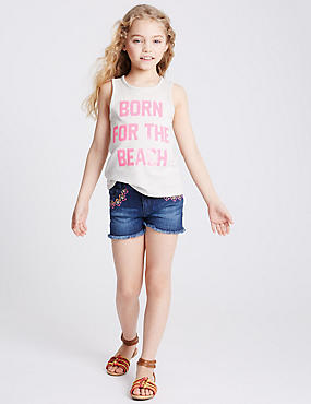 Embroidered Denim Shorts (3-14 Years)