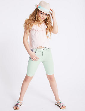 Cotton Shorts with Stretch (3-16 Years), MINT, catlanding