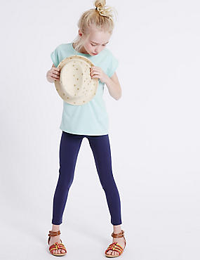 StayNEW™ Cotton Rich Leggings with Stretch (3-14 Years), NAVY, catlanding