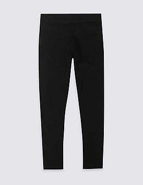 StayNEW™ Cotton Rich Leggings with Stretch (3-14 Years), BLACK, catlanding