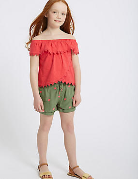 Elephant Embroidered Shorts (3-16 Years), GREEN, catlanding